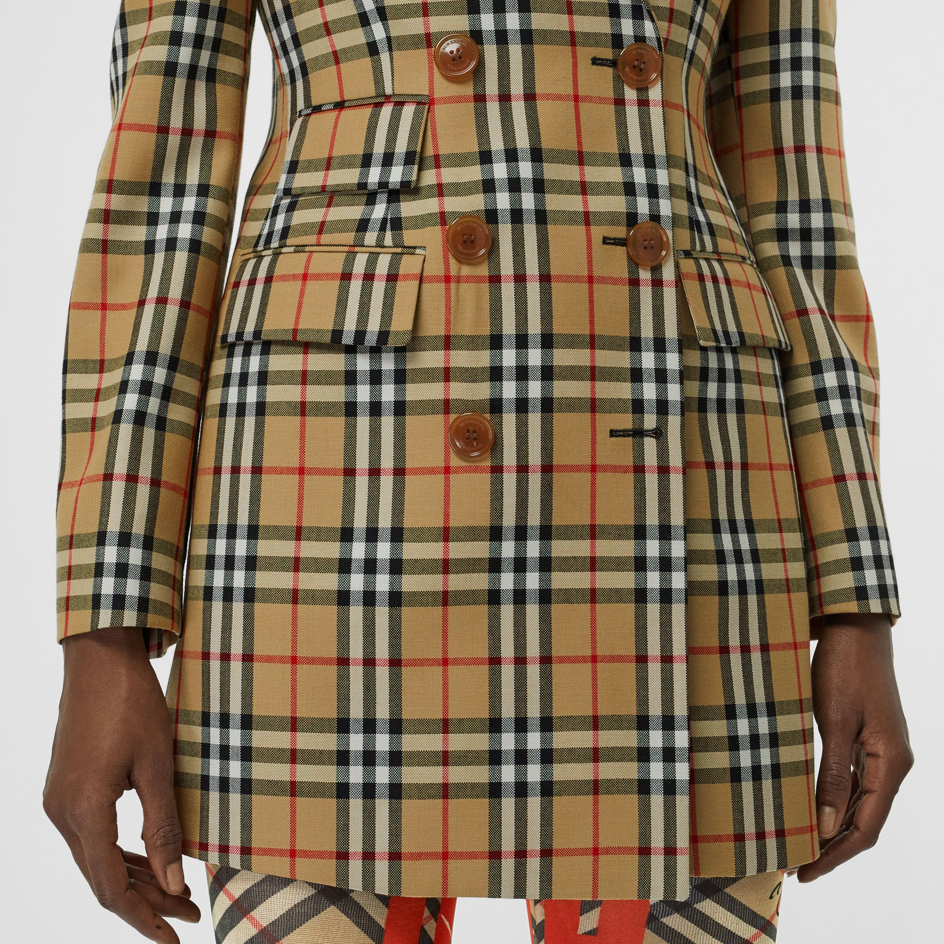 Vintage Check Wool Double-breasted Jacket in Antique Yellow - Women | Burberry Hong Kong - gallery image 4