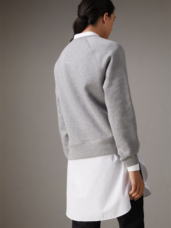 Creature Motif Jersey Sweatshirt in Pale Grey Melange | Burberry - cell image 2