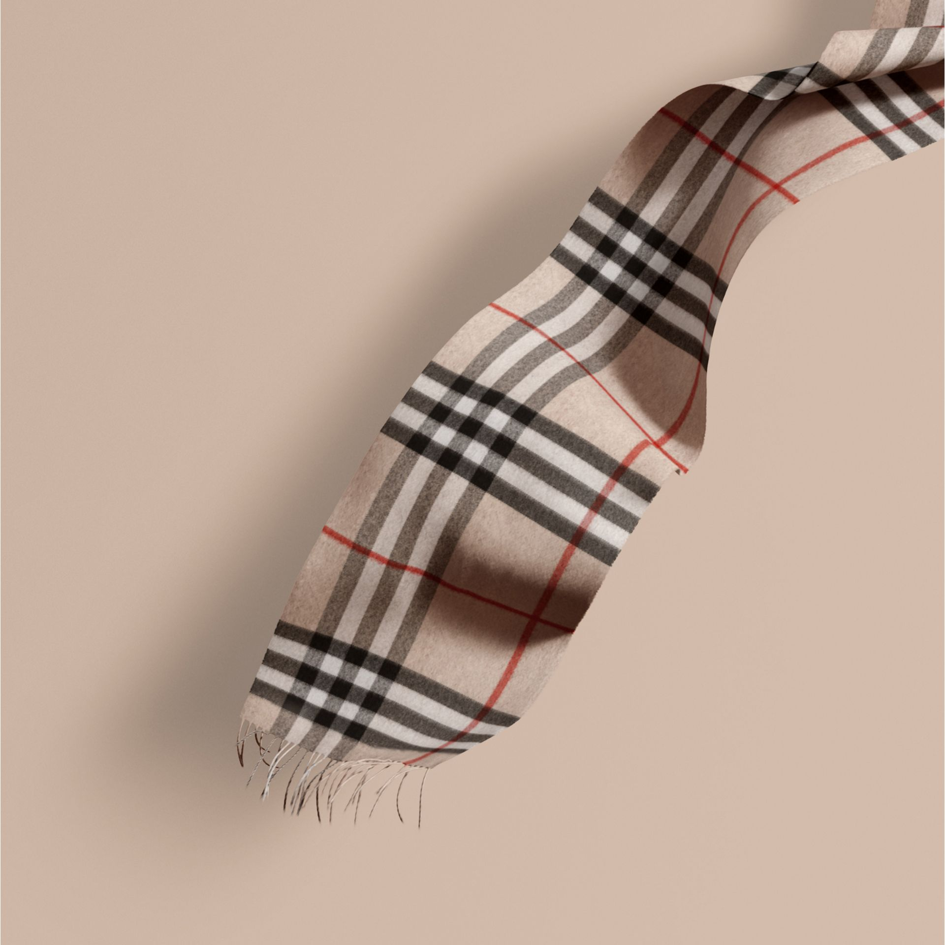 Stone check The Classic Cashmere Scarf in Check Stone - gallery image 1