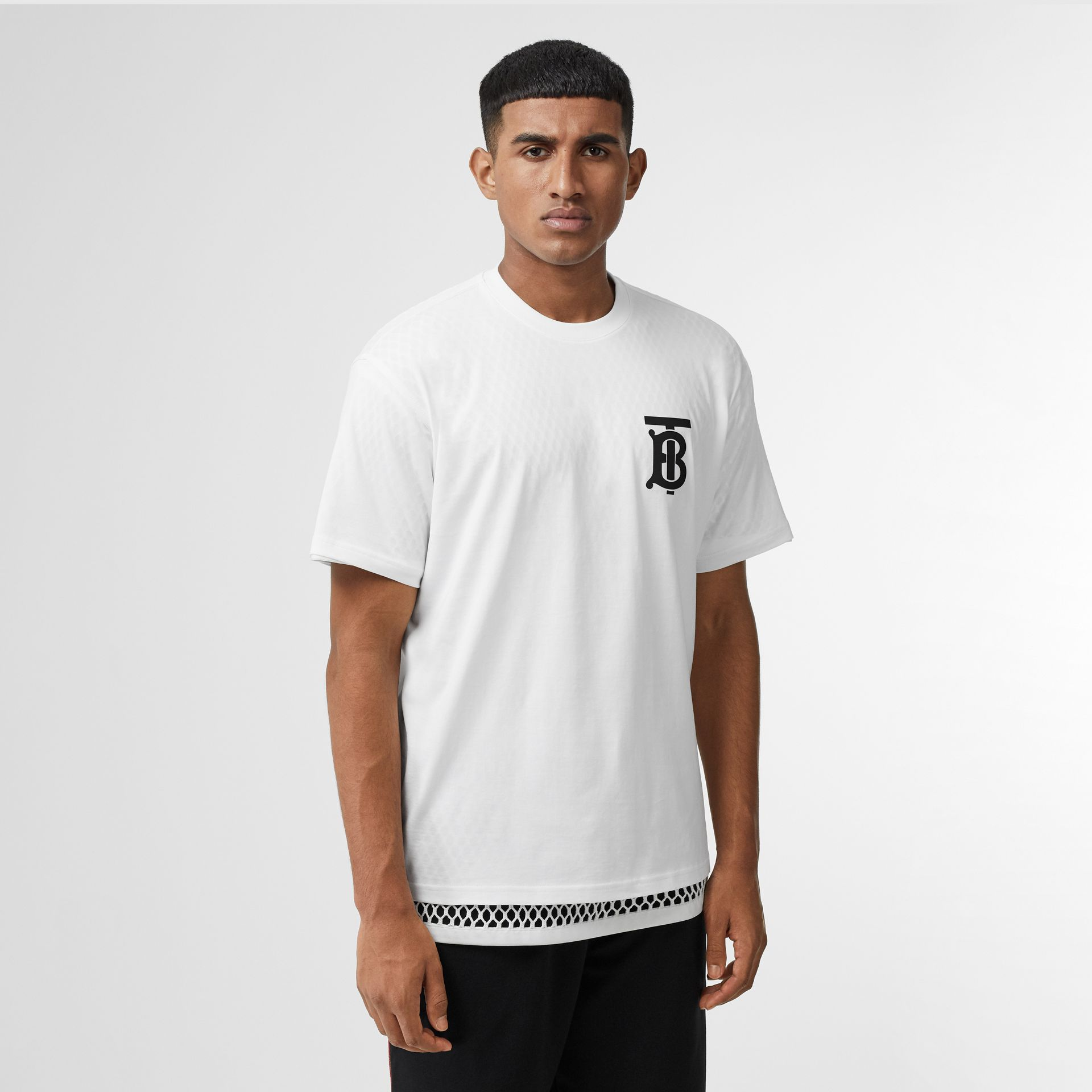 Monogram Motif Cotton Oversized T-shirt in White | Burberry United Kingdom - gallery image 4
