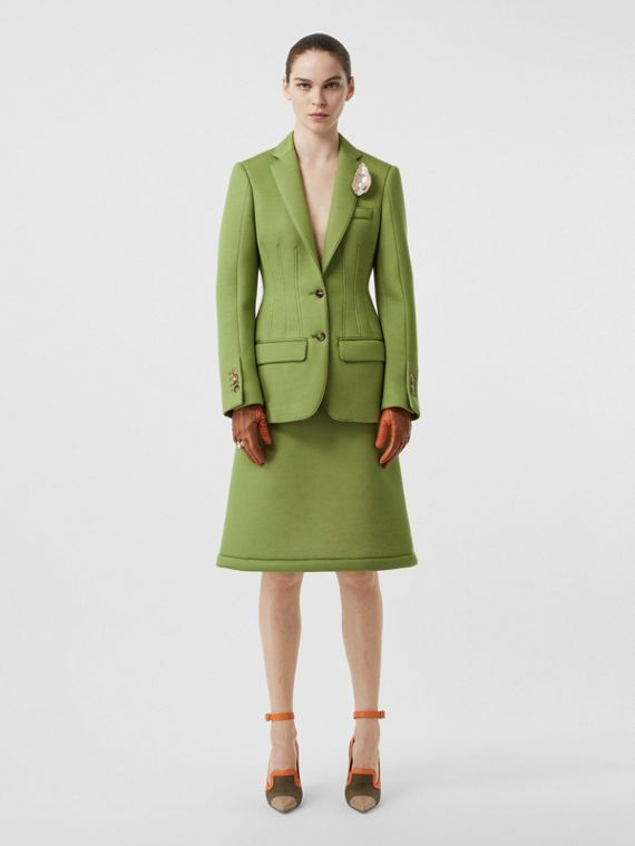 Double-faced Neoprene Tailored Jacket in Cedar Green