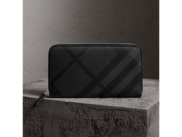 Cartera en London Checks con cremallera perimetral (Gris Marengo / Negro) - Hombre | Burberry - cell image 4