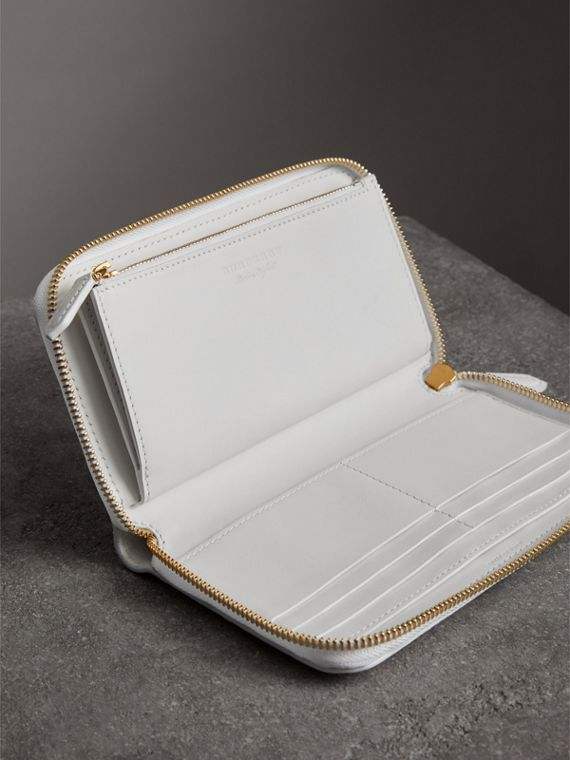 Embossed Leather Ziparound Wallet in Chalk White - Women | Burberry Australia - cell image 3