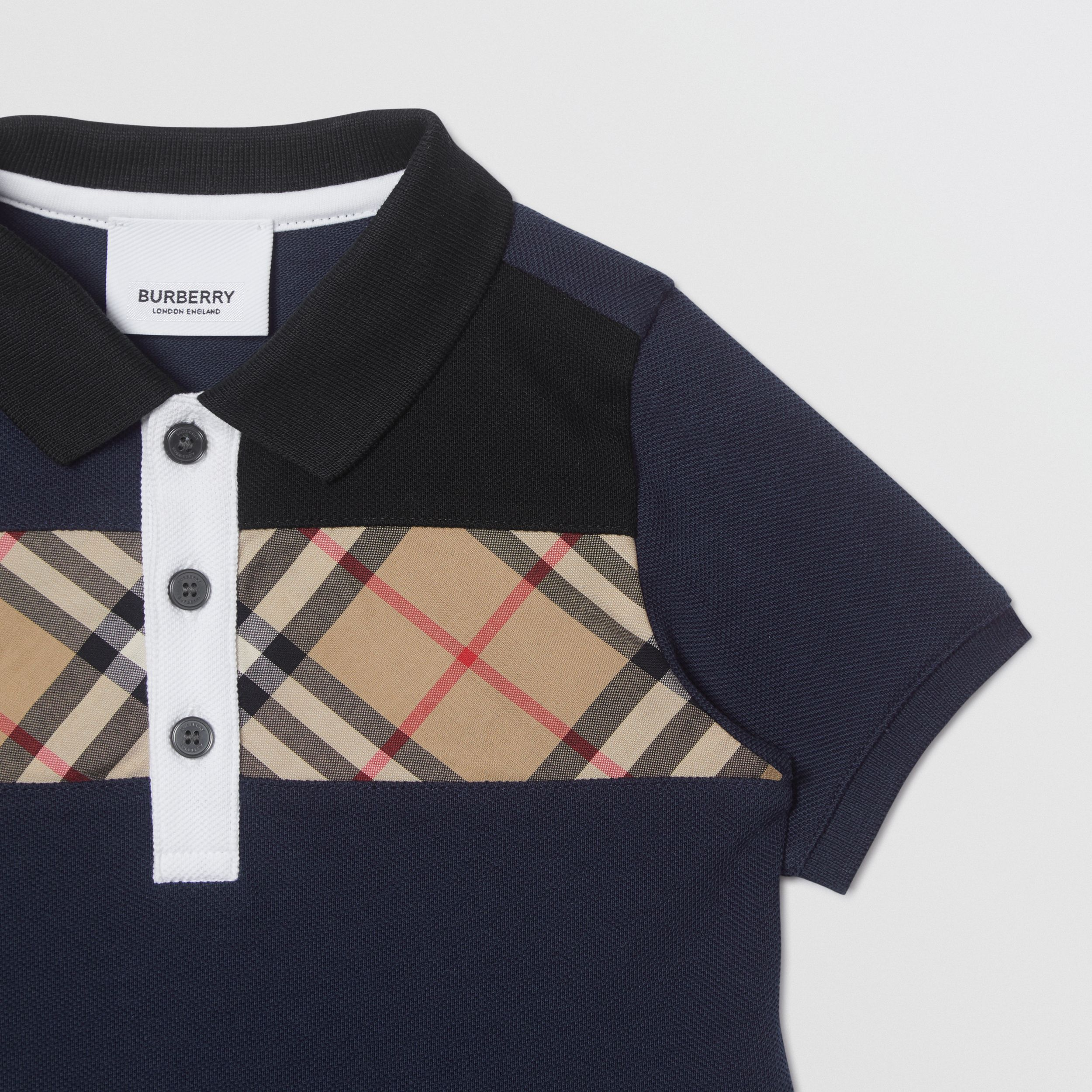 Vintage Check Panel Cotton Polo Shirt in Navy - Children | Burberry - 4