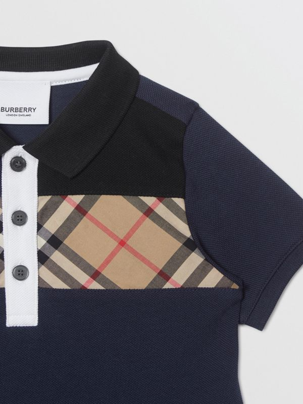 Vintage Check Panel Cotton Polo Shirt in Navy - Children | Burberry - cell image 3