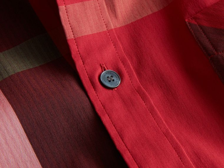 Short-sleeve Check Stretch Cotton Blend Shirt in Parade Red - Men | Burberry - cell image 1