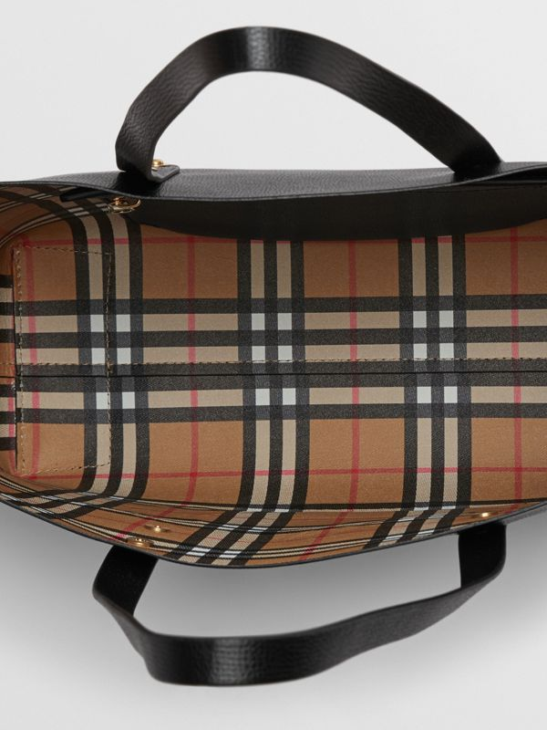 Small Embossed Crest Leather Tote in Black | Burberry Singapore - cell image 3