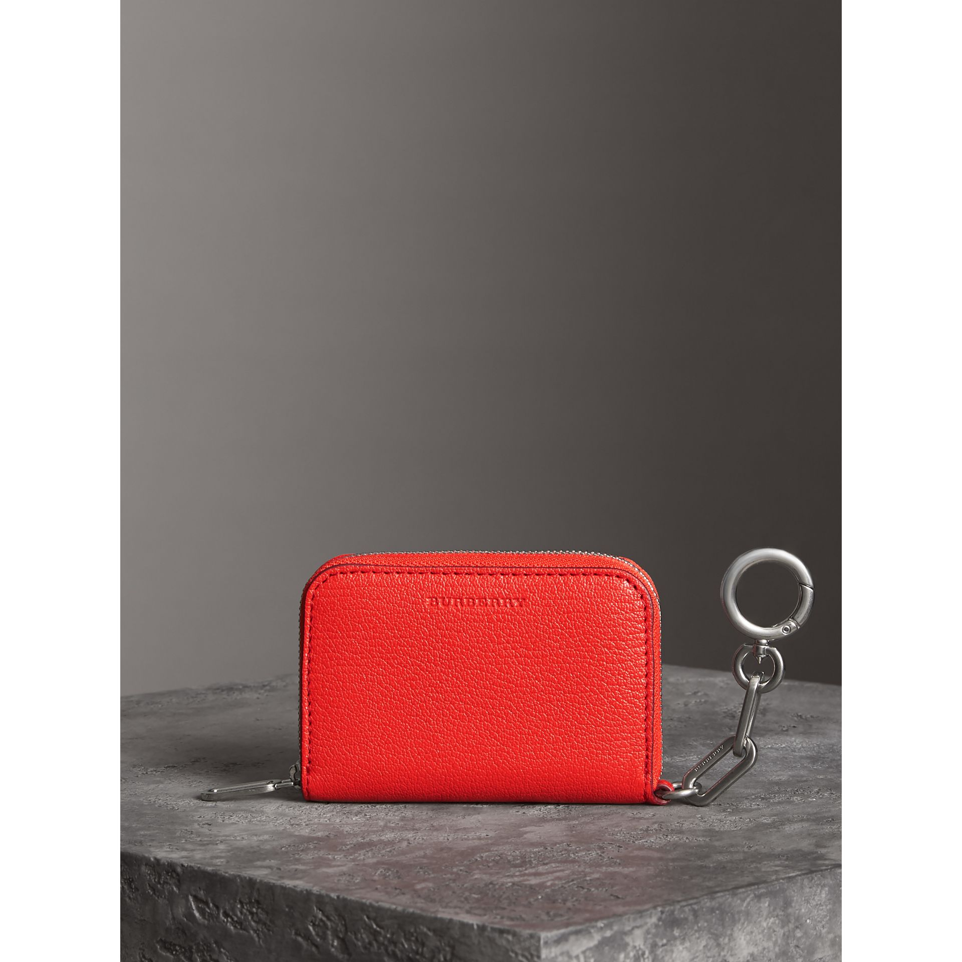 Link Detail Leather Ziparound Wallet in Bright Red | Burberry Australia - gallery image 5