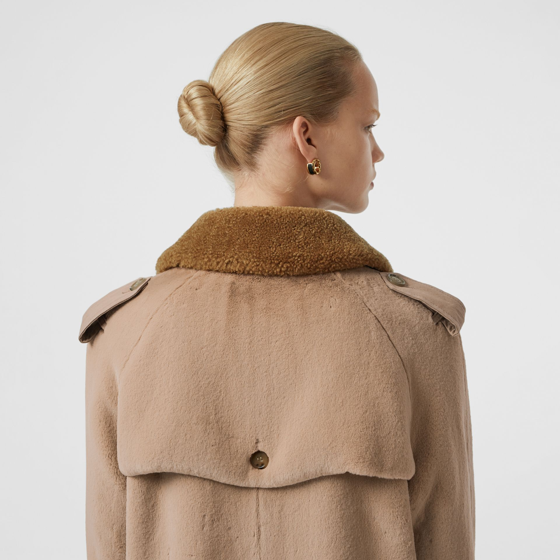 Shearling Trim Faux Fur Trench Coat in Taupe - Women | Burberry - gallery image 5
