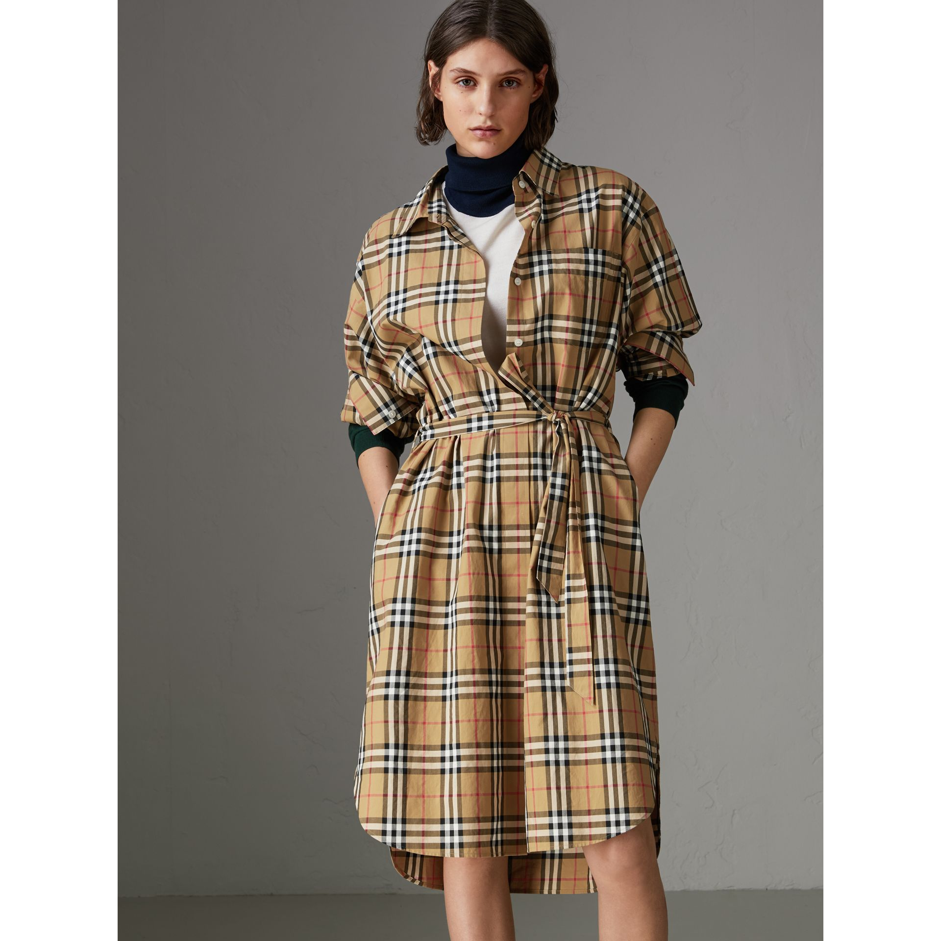 Tie-waist Vintage Check Cotton Shirt Dress in Antique Yellow - Women | Burberry Australia - gallery image 3