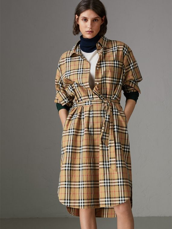 Tie-waist Vintage Check Cotton Shirt Dress in Antique Yellow - Women | Burberry Australia - cell image 3