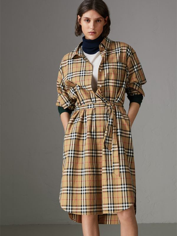 Vintage Check Cotton Tie-waist Shirt Dress in Antique Yellow | Burberry Singapore - cell image 3