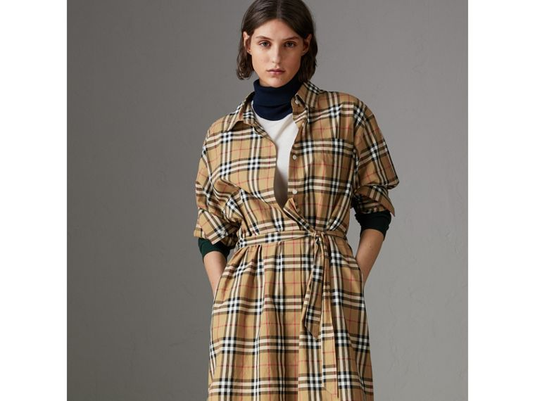 Tie-waist Vintage Check Cotton Shirt Dress in Antique Yellow - Women | Burberry Singapore - cell image 4