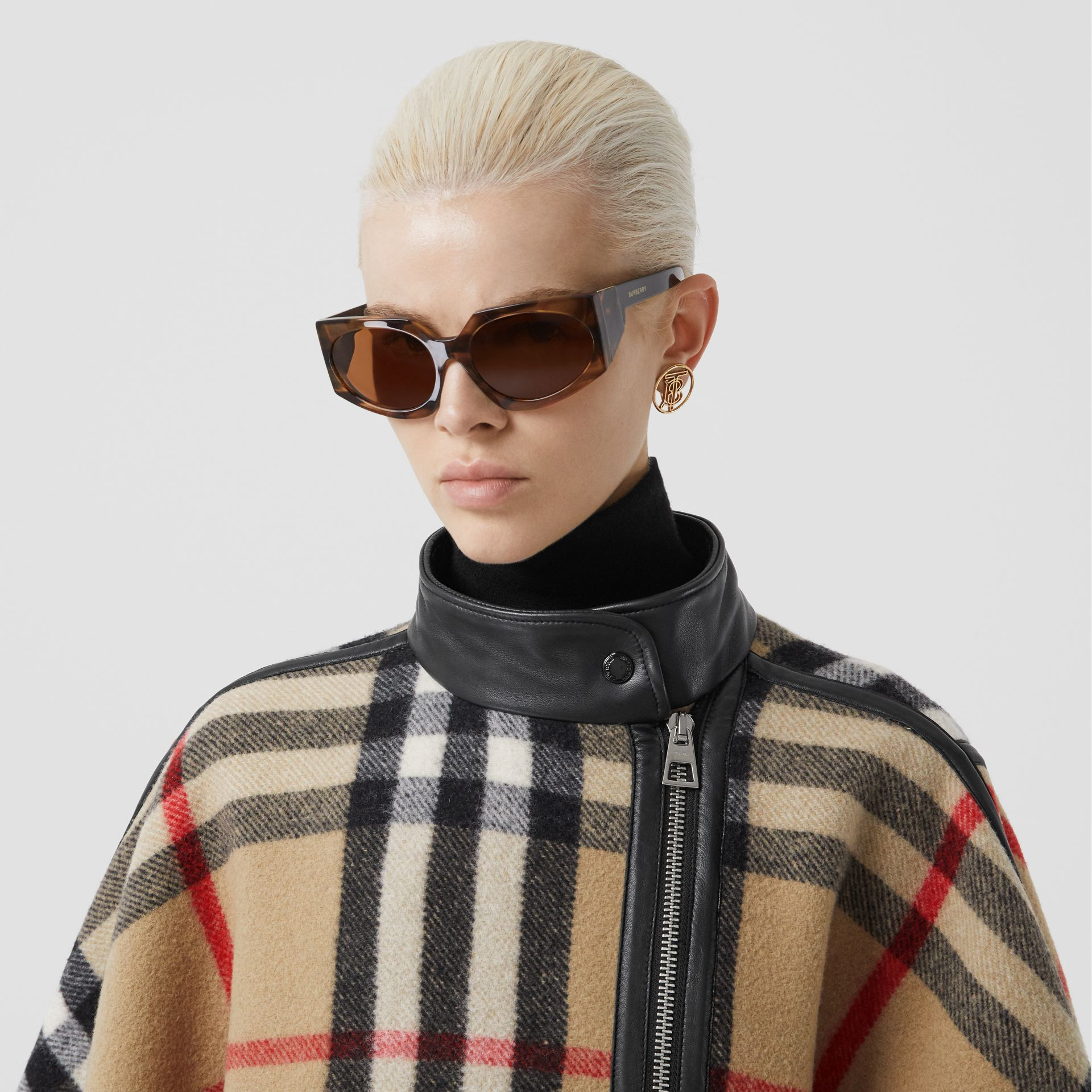 Check Wool Blend Zip-front Cape in Archive Beige | Burberry Australia - gallery image 7