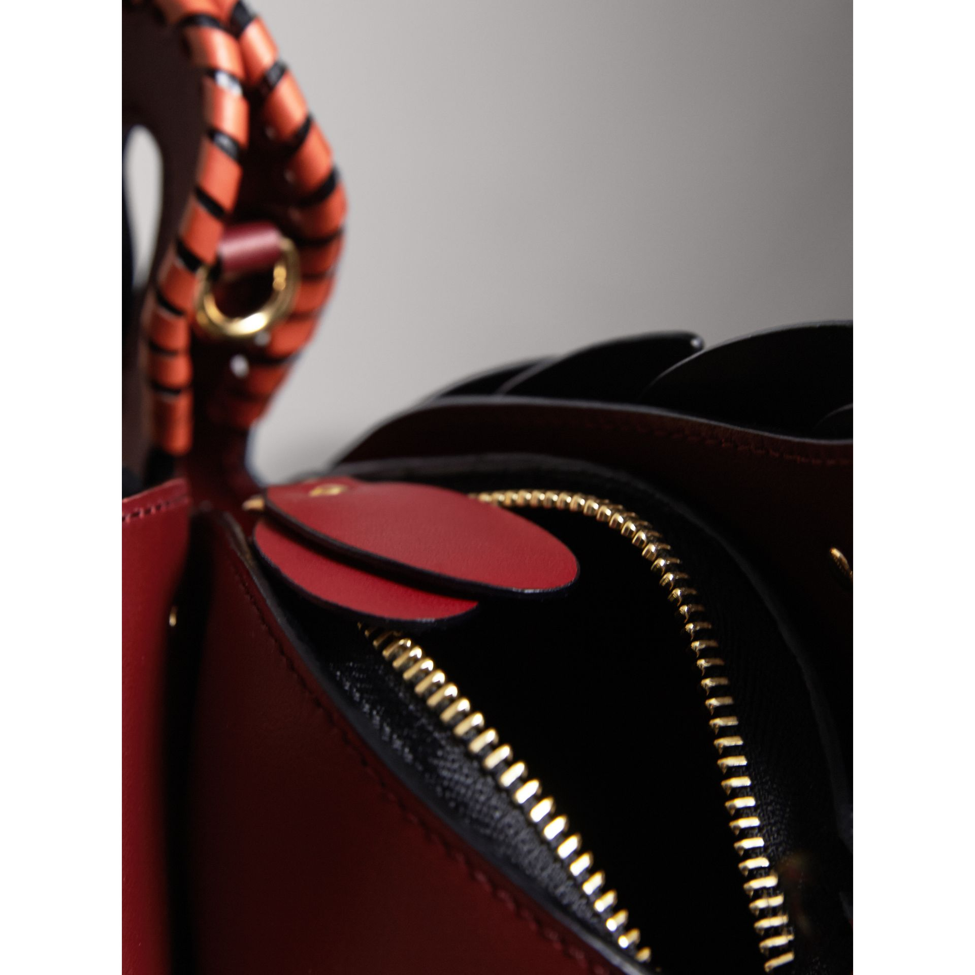 The Swan – Leather and Ostrich Crossbody Bag in Dark Cherry - Women | Burberry - gallery image 5