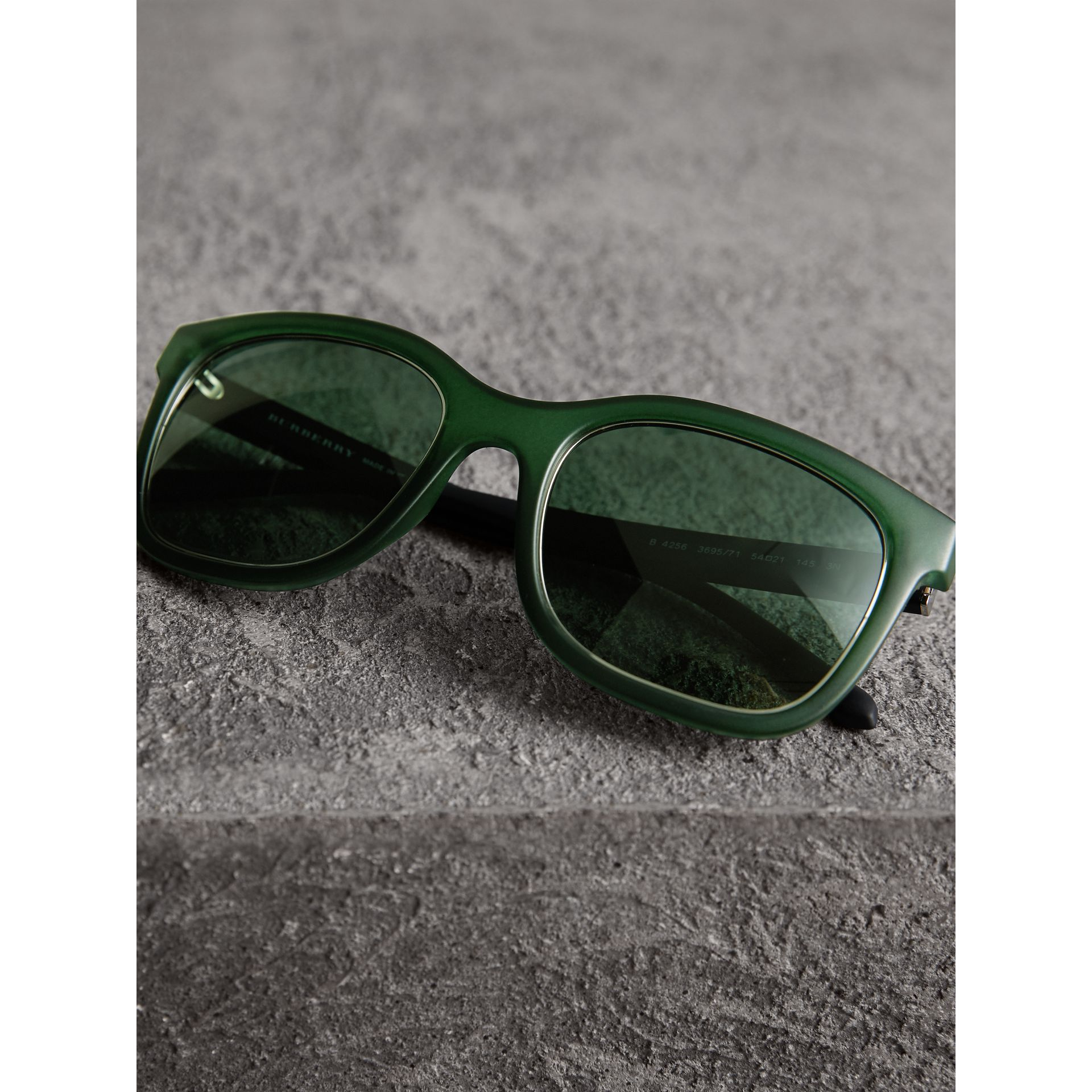 Embossed Check Detail Square Frame Sunglasses in Smokey Green - Men | Burberry - gallery image 3