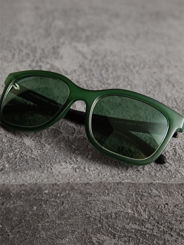 Embossed Check Detail Square Frame Sunglasses in Smokey Green - Men | Burberry United Kingdom - cell image 2