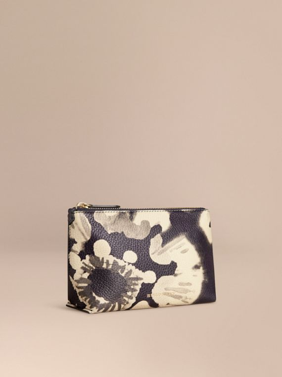 Medium Floral Tie-dye Grainy Leather Beauty Pouch Stone