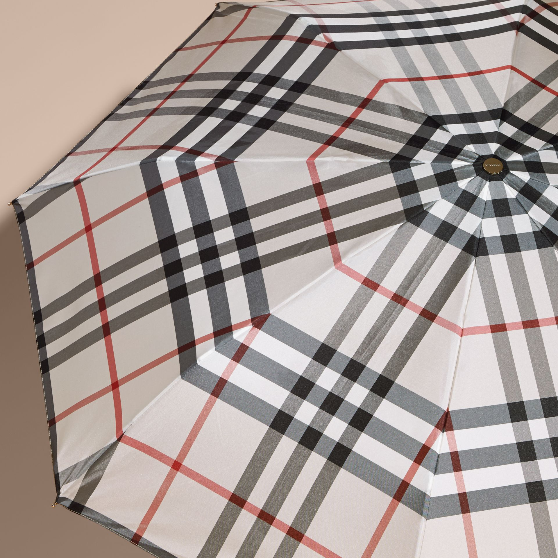 Check Folding Umbrella in Stone | Burberry - gallery image 5