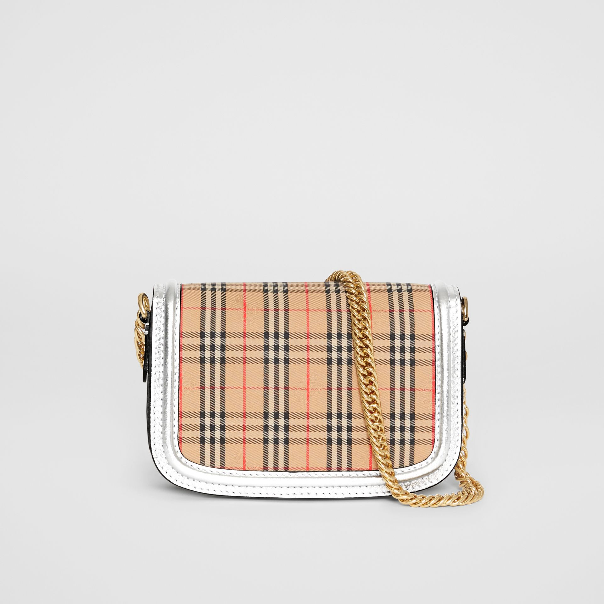 The 1983 Check Link Bag with Leather Trim in Silver - Women | Burberry - gallery image 7