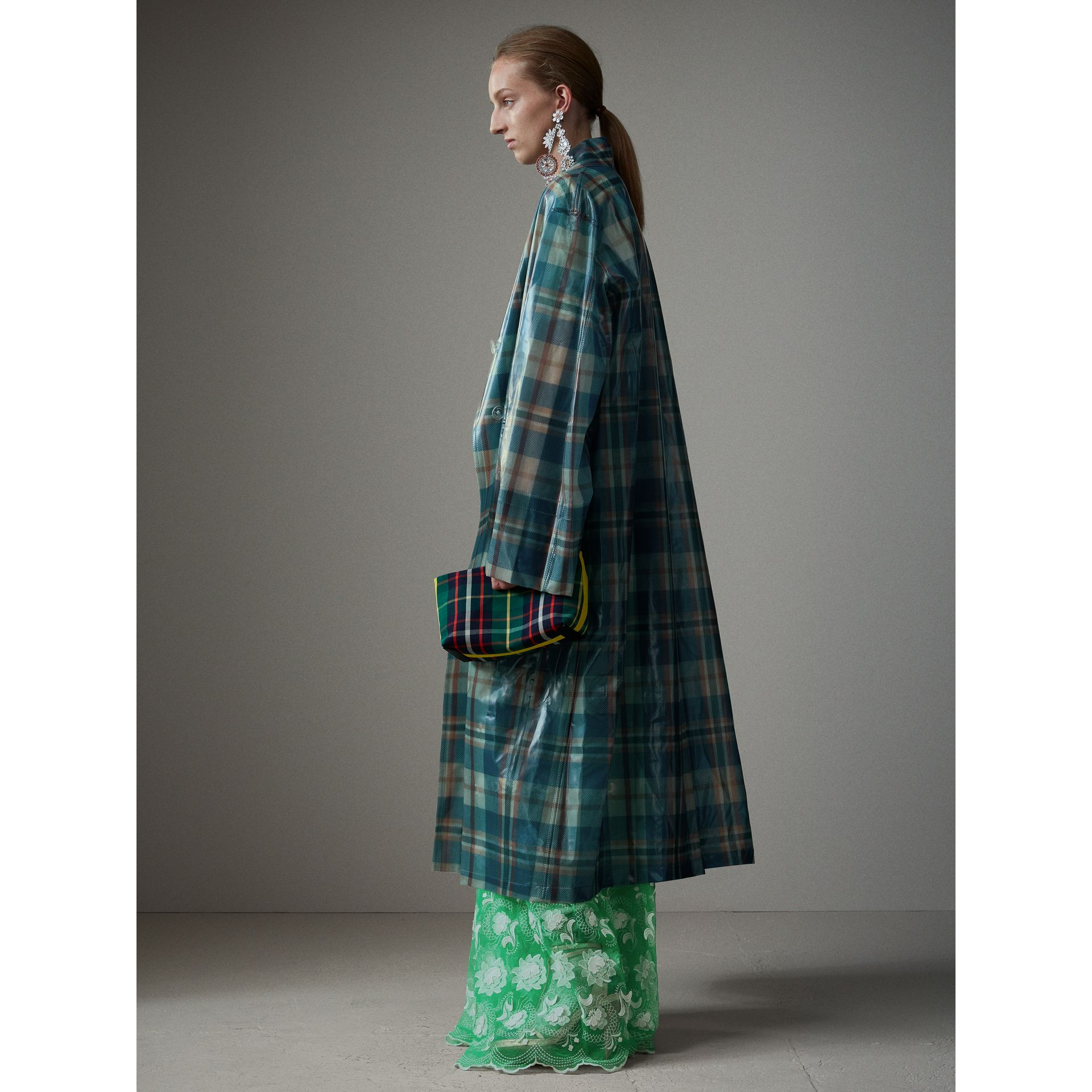 Tartan Soft-touch Plastic Oversized Car Coat in Blue/orange - Women | Burberry Singapore - gallery image 6