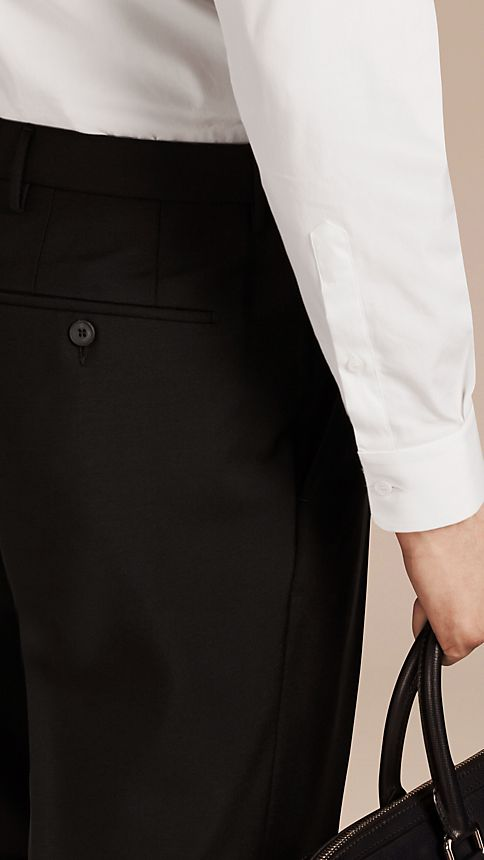 Black Slim Fit Wool Mohair Trousers Black - Image 3