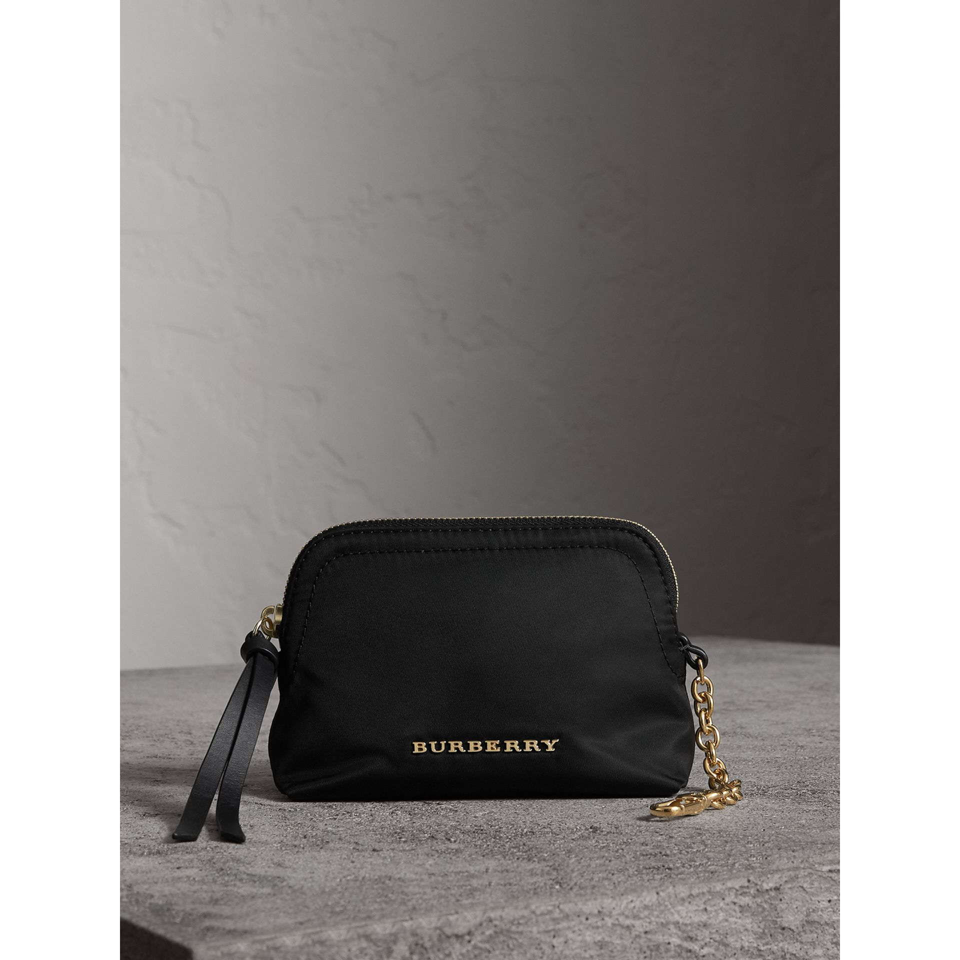 Small Zip-top Technical Nylon Pouch in Black - Women | Burberry - gallery image 0