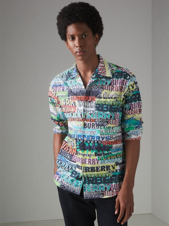 Graffiti Logo Print Cotton Shirt in Bright Green - Men | Burberry United Kingdom - cell image 3
