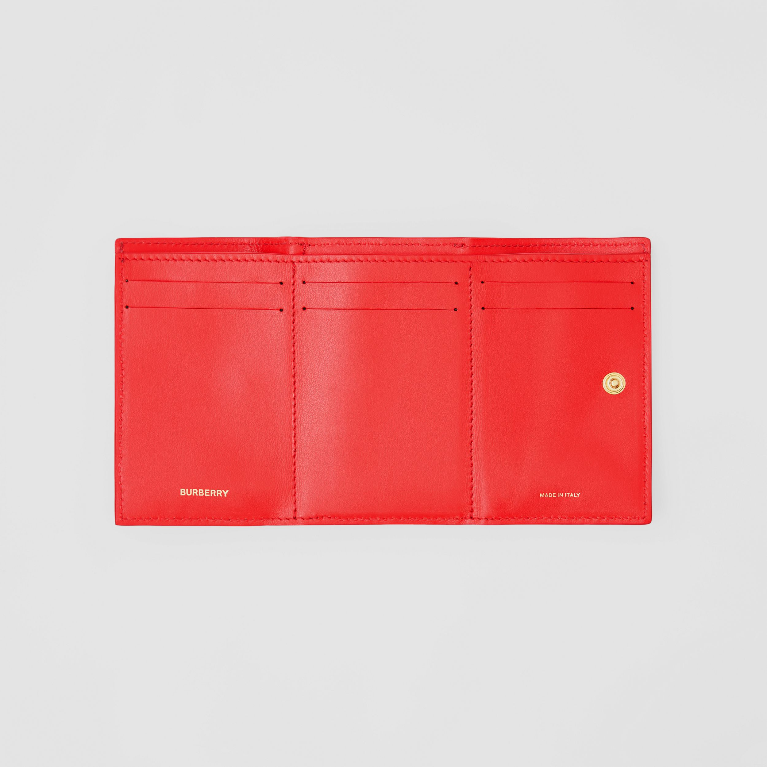 Small Grainy Leather Folding Wallet in Bright Red - Women | Burberry - 3
