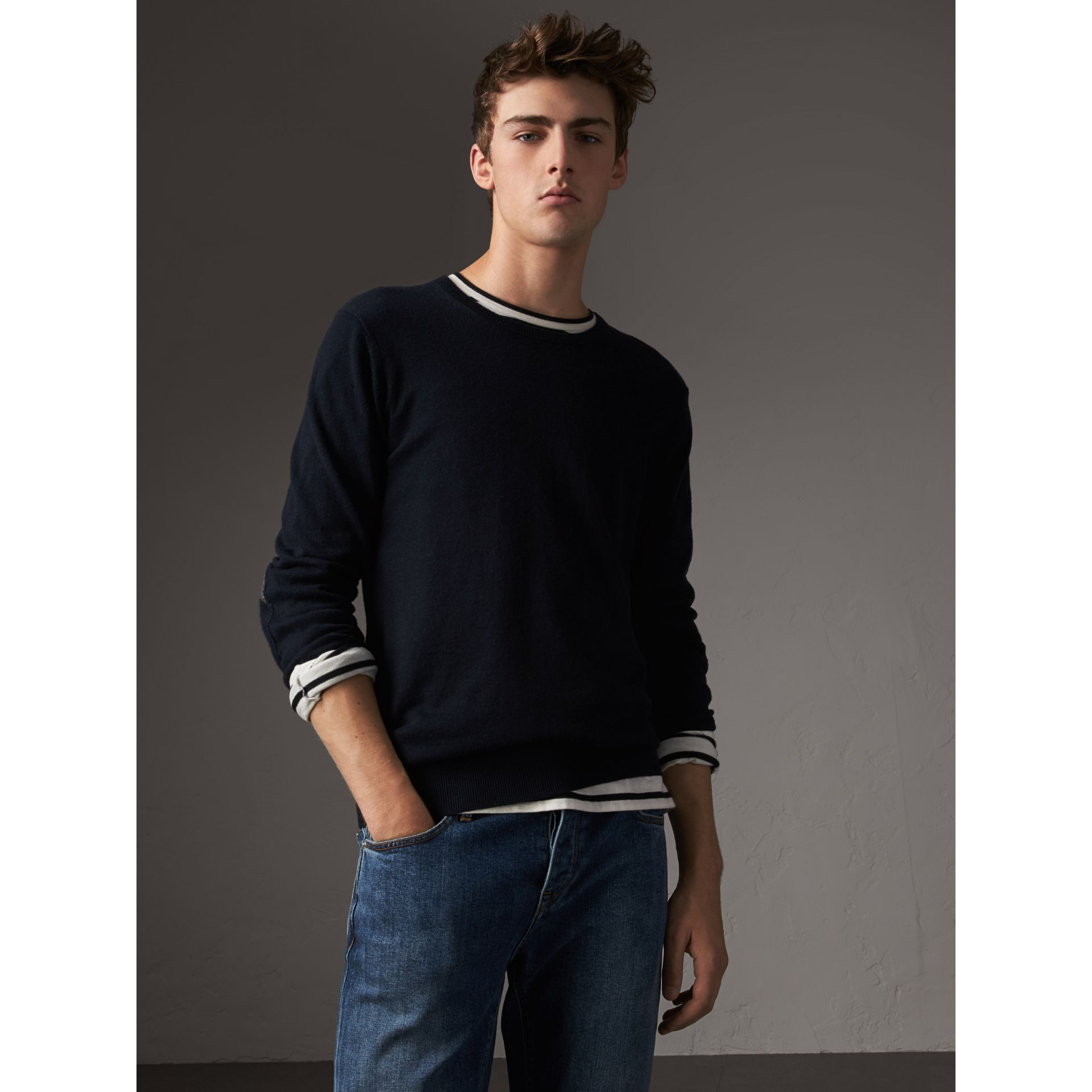 Check Trim Cashmere Cotton Sweater in Navy - Men | Burberry - gallery image 3