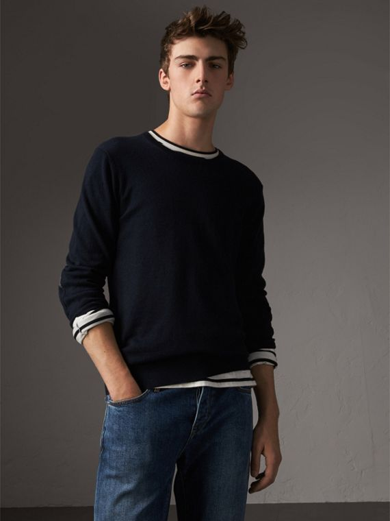 Check Trim Cashmere Cotton Sweater in Navy - Men | Burberry United States - cell image 2