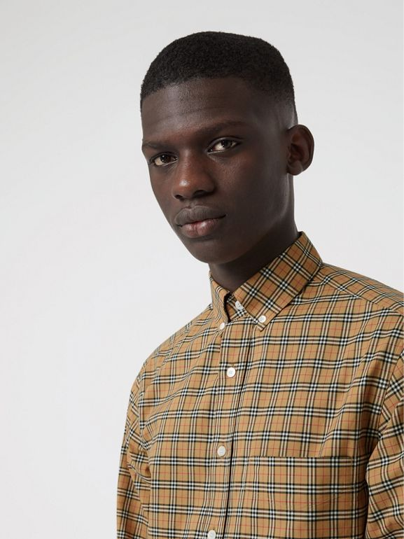Small Scale Check Cotton Shirt in Antique Yellow - Men | Burberry - cell image 1
