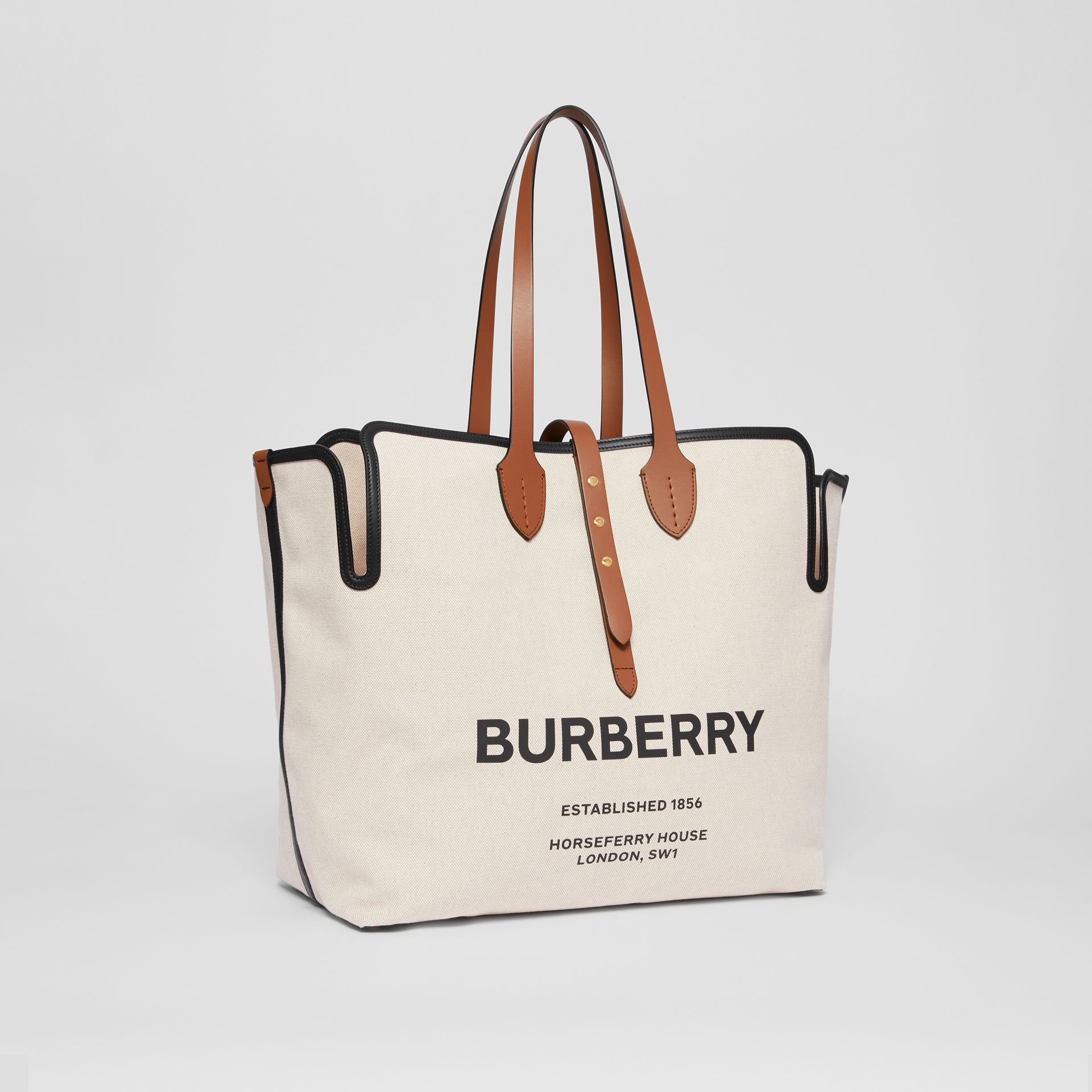 Grand sac The Belt en toile de coton douce (Brun Malt) | Burberry - photo de la galerie 6