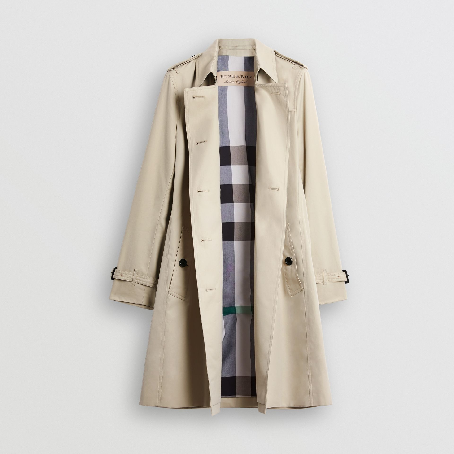 Kensington Fit Cotton Gabardine Trench Coat in Stone - Women | Burberry - gallery image 7