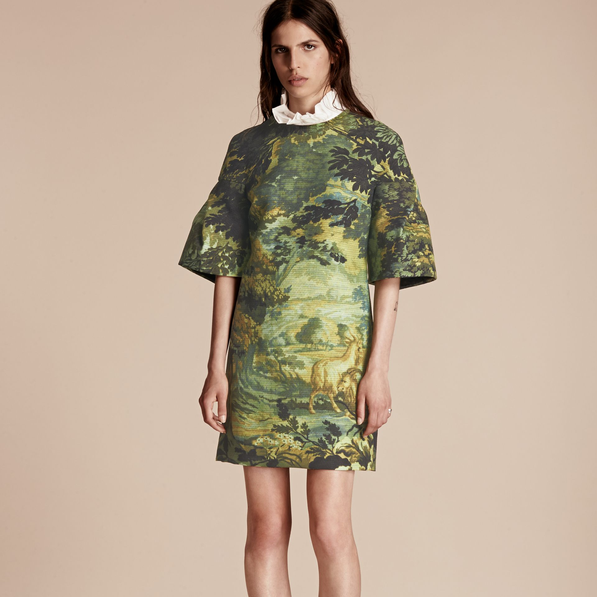 Turquoise green Tapestry Print Sculptured Sleeve Shift Dress - gallery image 7
