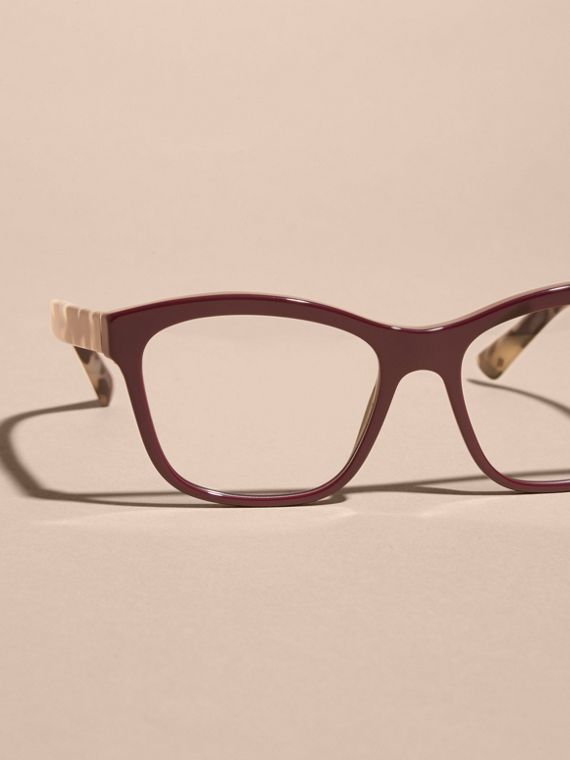 Oxblood Check Detail Square Optical Frames Oxblood - cell image 2