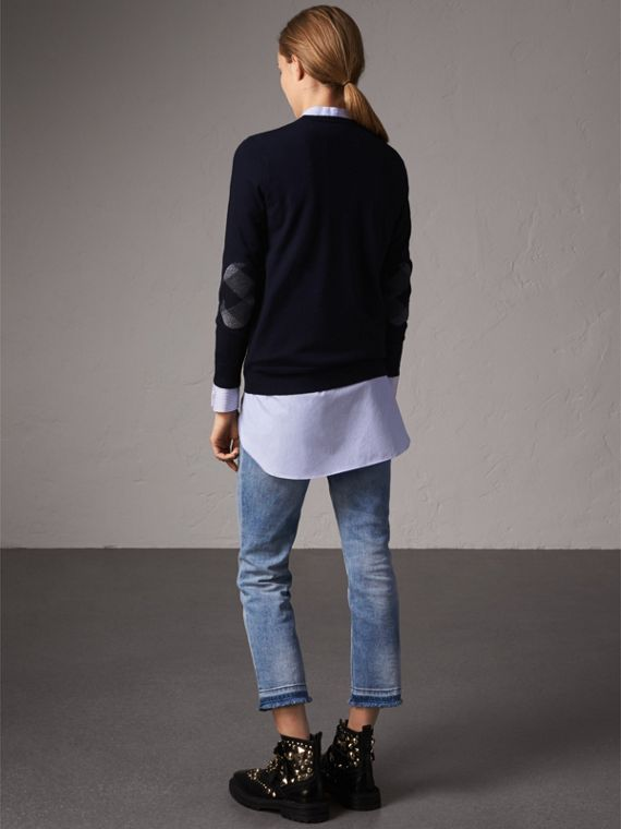 Check Detail Merino Wool Crew Neck Sweater in Navy - Women | Burberry United Kingdom - cell image 2
