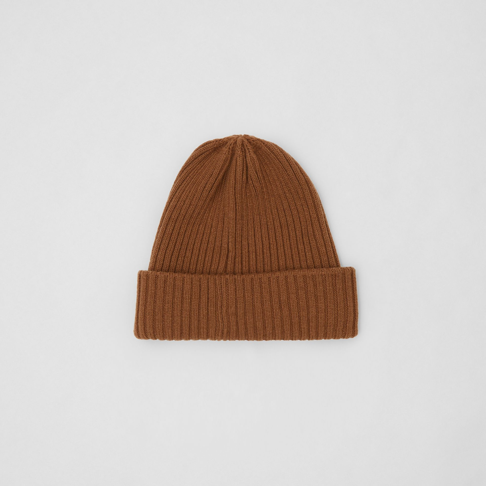 Rib Knit Wool Beanie in Maple | Burberry - gallery image 0
