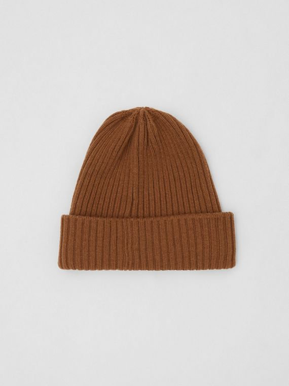 Rib Knit Wool Beanie in Maple