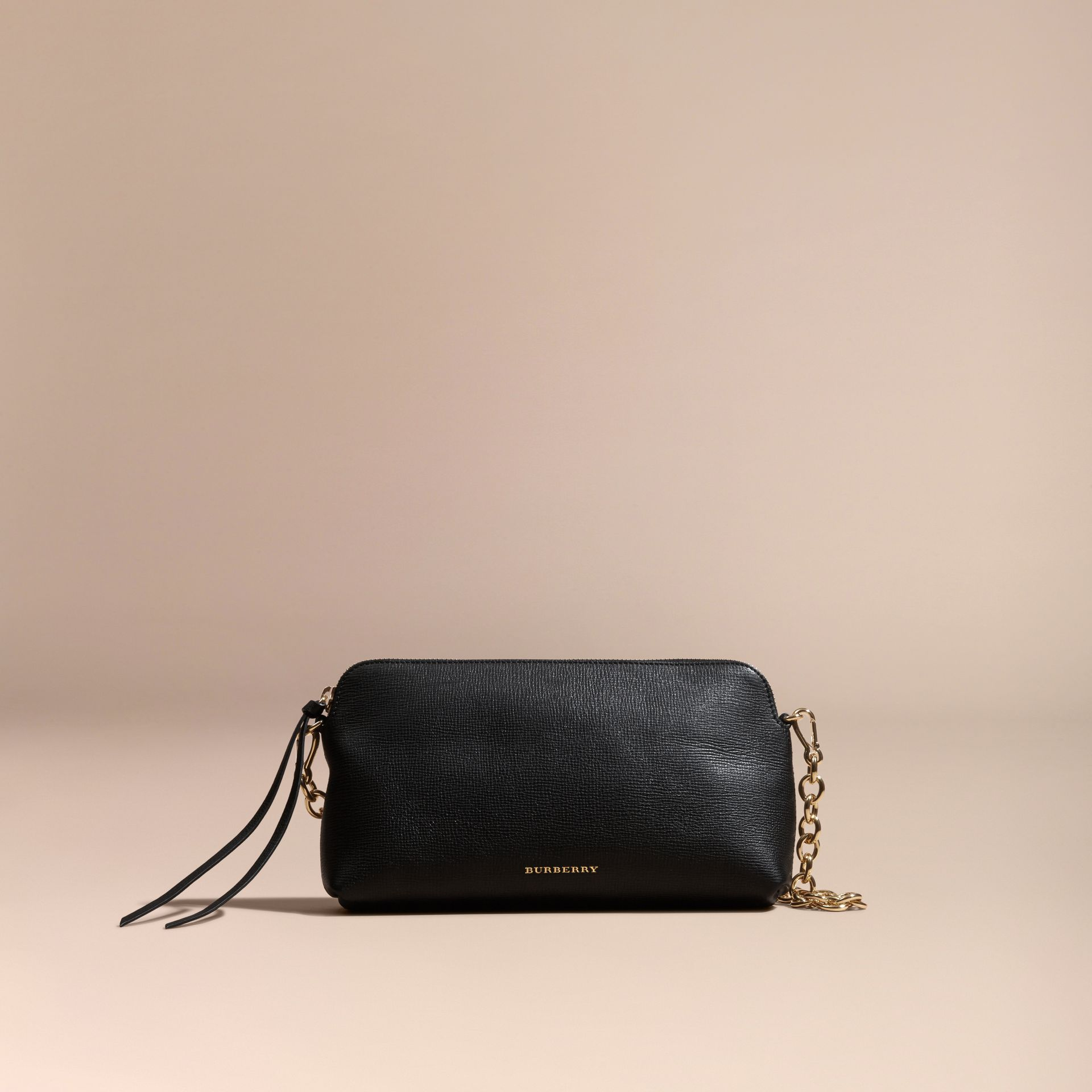 Grainy Leather Clutch Bag Black - gallery image 9
