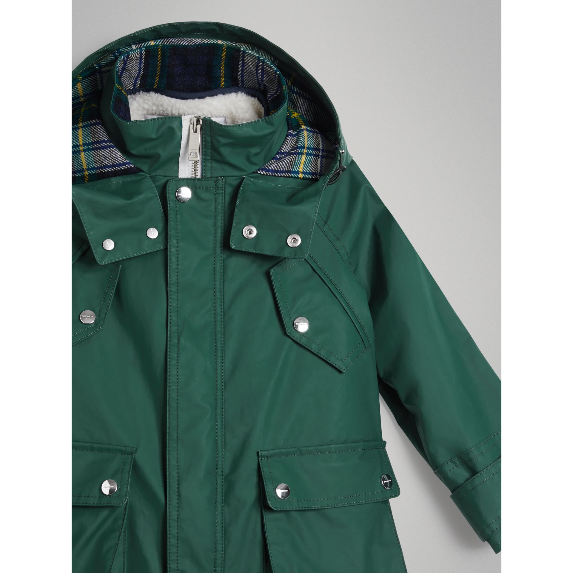 Cotton Blend Hooded Parka with Detachable Warmer in Forest Green - Children | Burberry United States - gallery image 4