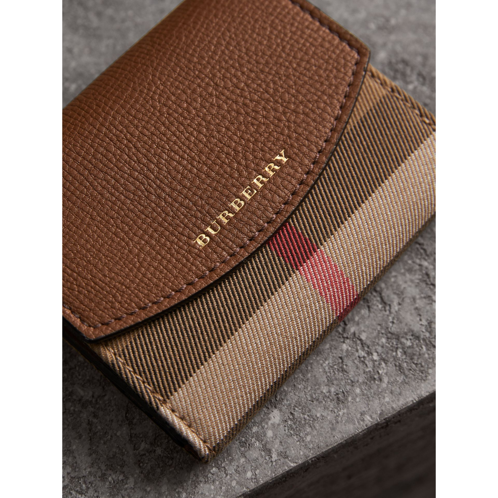House Check and Leather Wallet in Tan - Women | Burberry United States - gallery image 1