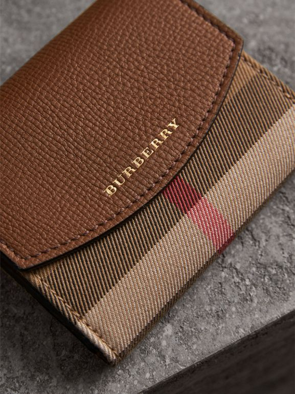 House Check and Leather Wallet in Tan - Women | Burberry - cell image 1