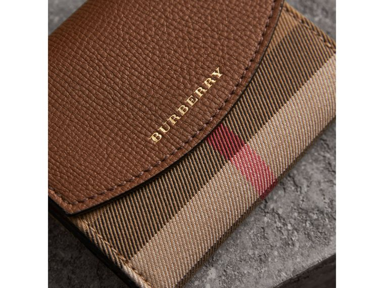 House Check and Leather Wallet in Tan - Women | Burberry United Kingdom - cell image 1