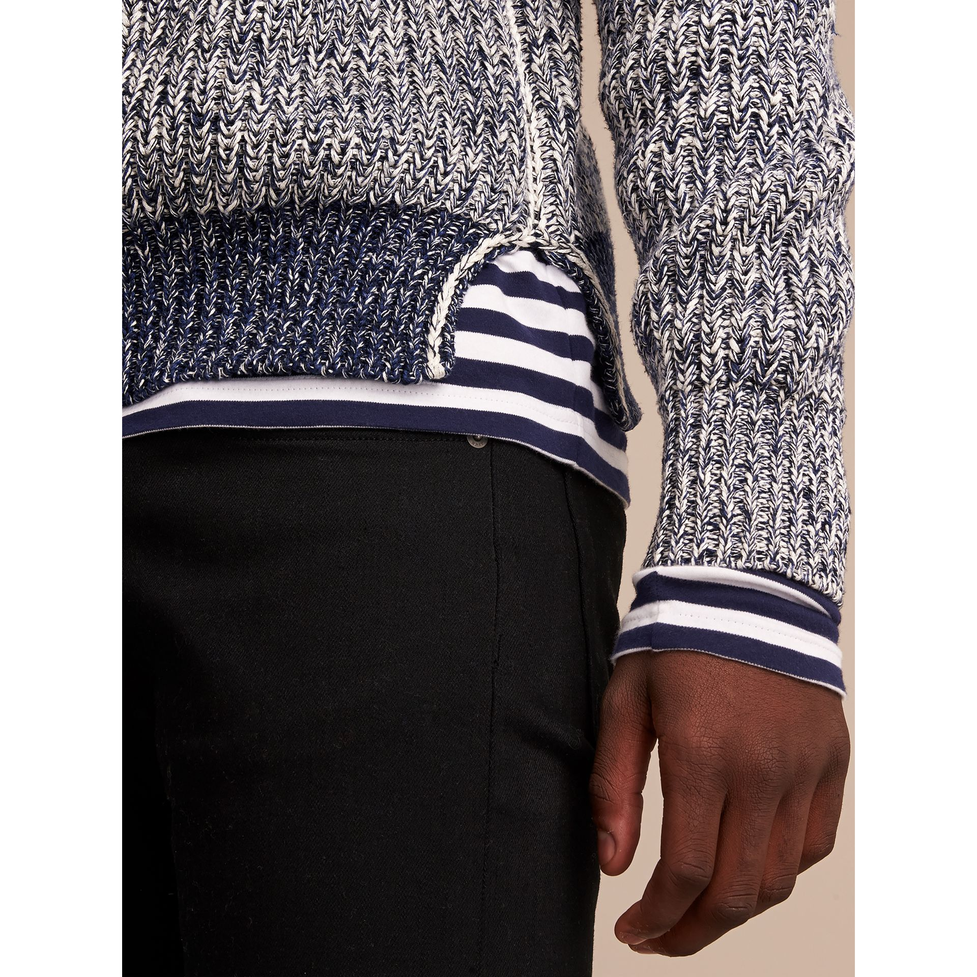 Chunky Knit Mouline Cotton Sweater in Bright Navy - Men | Burberry Canada - gallery image 2