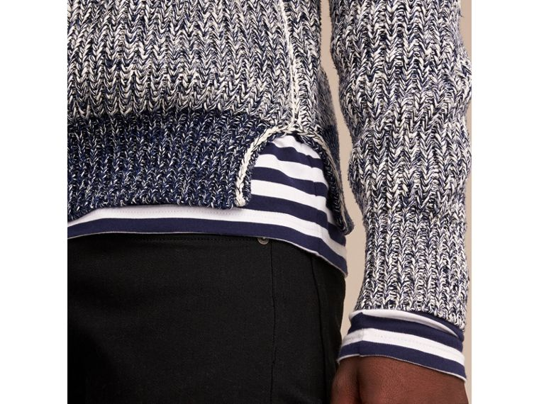 Chunky Knit Mouline Cotton Sweater in Bright Navy - Men | Burberry - cell image 1