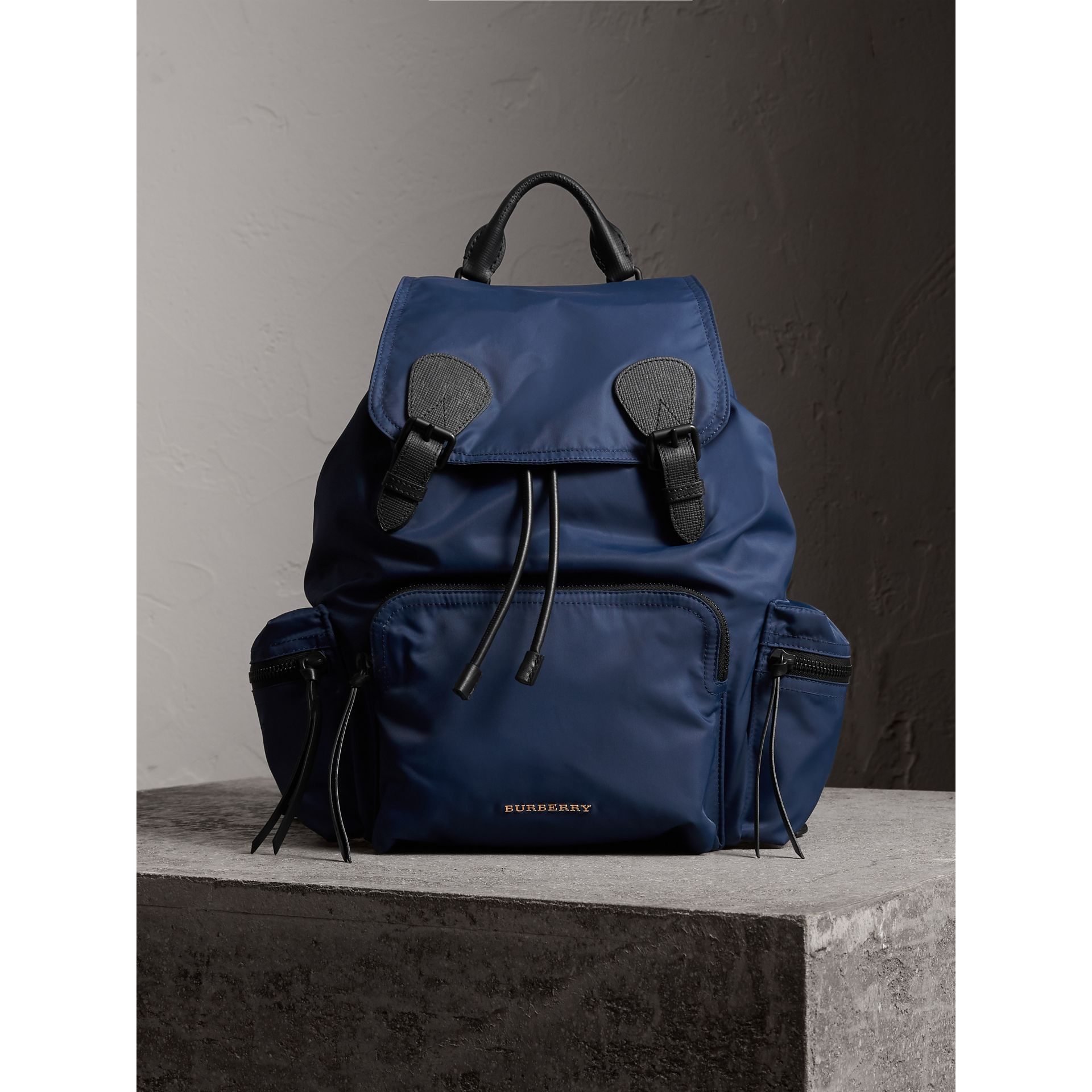 The Large Rucksack in Technical Nylon and Leather in Steel Blue | Burberry Australia - gallery image 3