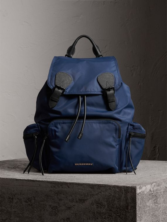 The Large Rucksack in Technical Nylon and Leather in Steel Blue | Burberry Australia - cell image 2
