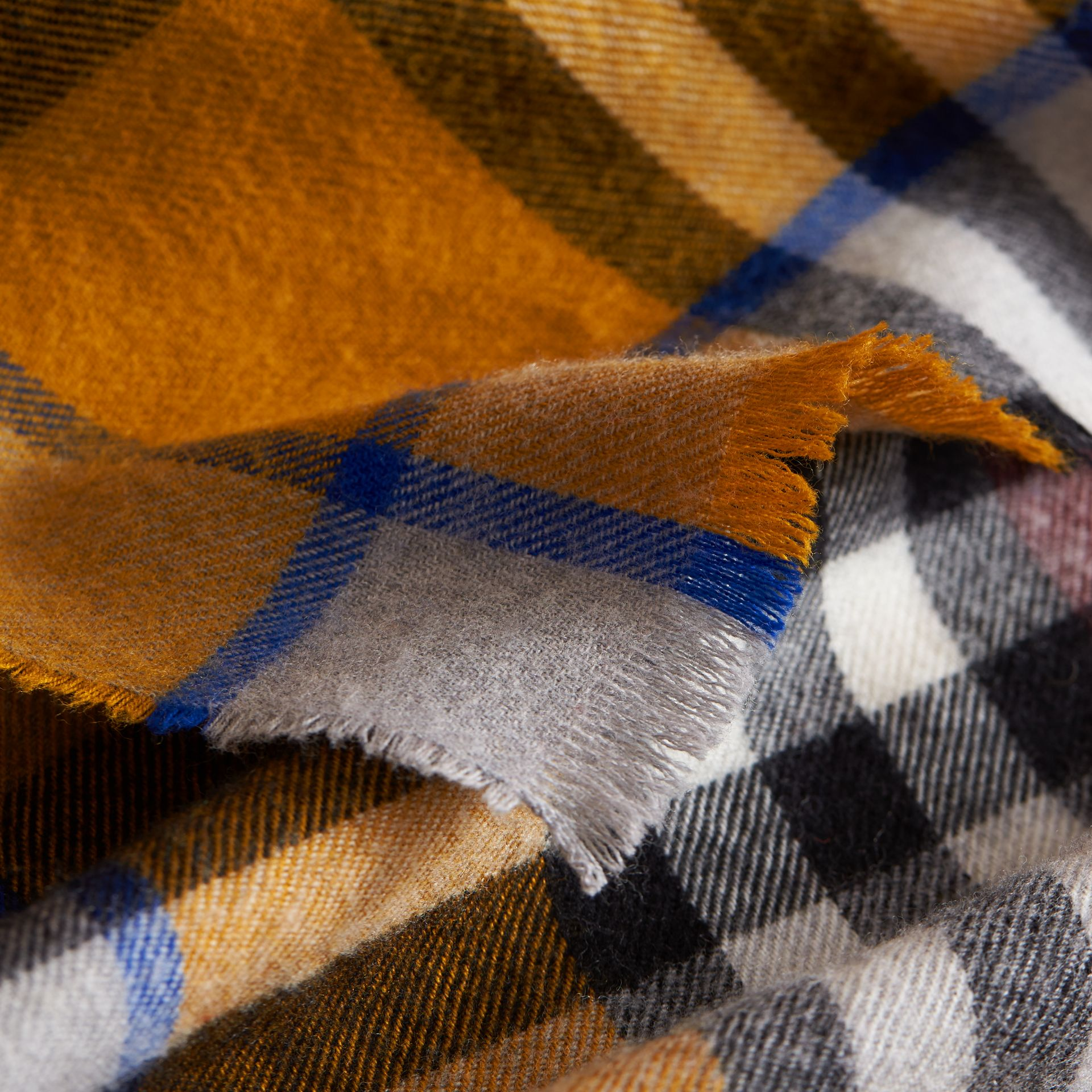 Overdyed Exploded Check Merino Wool Scarf in Burgndy/ochre Yellow | Burberry - gallery image 2