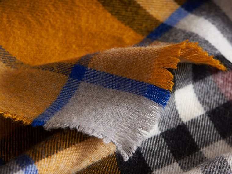 Overdyed Exploded Check Merino Wool Scarf in Burgndy/ochre Yellow | Burberry - cell image 1